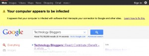 A Google warning telling users that their computer appears to be infected