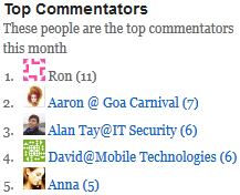 Top Commenters Screenshot - as it appeared on the 17th October 2011