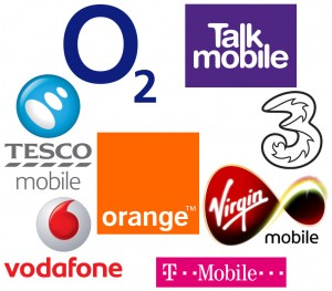 Different mobile phone network providers - Virgin Mobile, Orange, Tesco Mobile, T-Mobile, Vodafone, 3, Talk Mobile