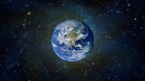 Earth suspended in space