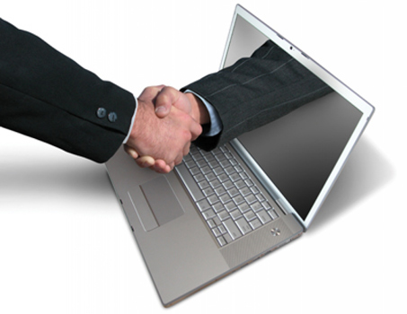 Handshake through a laptop screen
