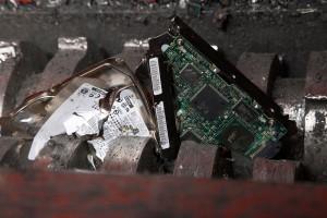 A hard disk shredder