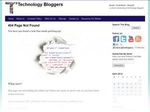 Technology Bloggers 404 error