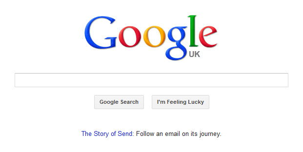 Google's homepage with a link to 'The Story of Send'