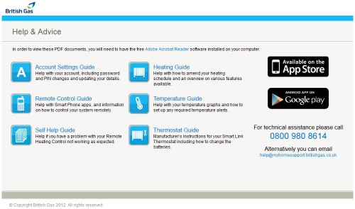 British Gas myHome Help and Advice page screenshot