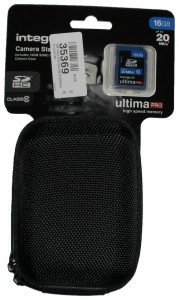 Integral camera case and memory card