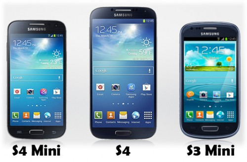 Samsung's S4 Mini, S4 and S3 Mini
