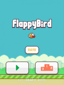 A screenshop of the Flappy Bird app