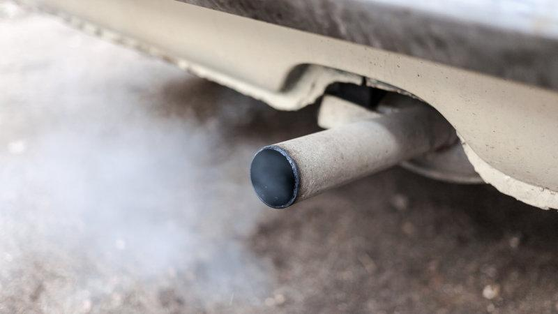 Exhaust pipe emissions on a self-charging car